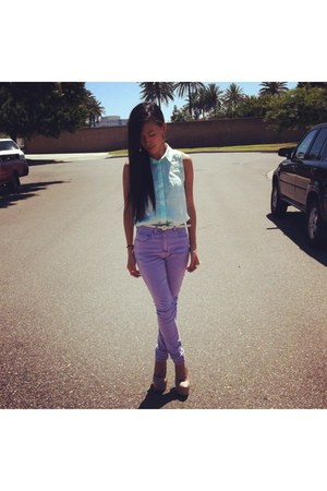 aquamarine blouse H&M top - light purple high waisted asos jeans
