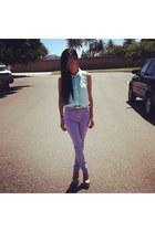 aquamarine blouse H&M top - light purple high waisted asos jeans