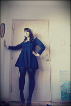 borrowed dress - thrifted hat - We Love Colors tights - Sock Dreams socks