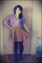 American Apparel skirt - Blowfish boots - vintage shirt - HUE tights