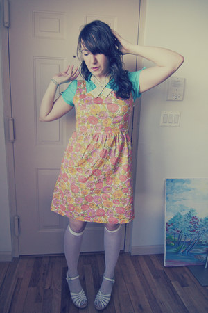 modcloth dress - We Love Colors socks - tj m blouse - Swedish Hasbeens clogs