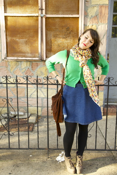 white Uniqlo scarf - We Love Colors tights - American Apparel skirt
