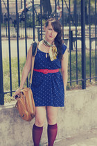 thrifted dress - thrifted scarf - brooklyn industries bag - Sock Dreams socks