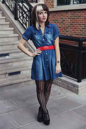 blue denim thrifted dress - black Urban Outfitters tights