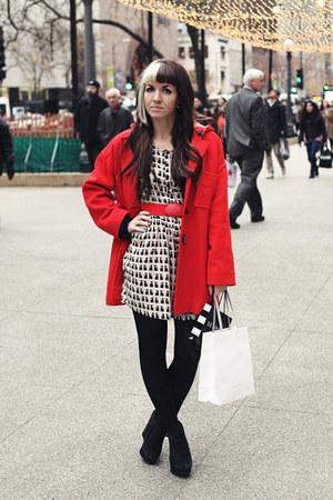 eggshell patterned H&M dress - ruby red vintage Pendleton coat