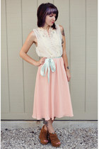 light pink silk vintage dress - brown suede big buddha wedges