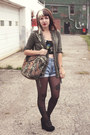 Black-sheer-unknown-tights-olive-green-animal-print-thrifted-bag