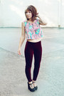 Crimson-velvet-forever-21-leggings-black-urban-outfitters-wedges
