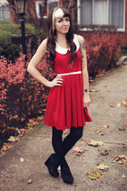 red modcloth dress - black H&M tights - black suede Urban Outfitters wedges