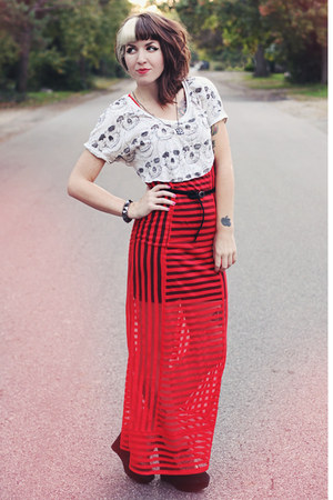 white printed DIY shirt - red sheer Urban Outfitters dress