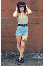blue striped thrifted shorts - Claires sunglasses - black stretch thrifted belt