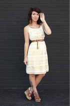 ivory gold mark dress - brown thrifted wedges - brown Urban Outfitters belt