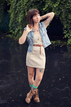 beige tube DIY dress - brown canvas Urban Outfitters boots