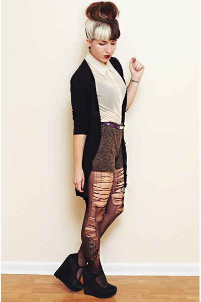 charcoal gray knit Urban Outfitters shorts - black torn DIY tights