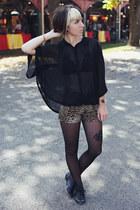black cape Forever 21 blouse - black oxfords big buddha shoes