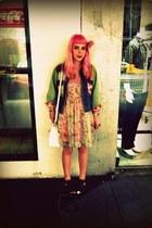 light purple sheer floral Sportsgirl dress - pink rose hairclip diva hat - blue