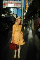 brick red tosca bag - light orange Peacock and Pearl dress - off white Abigail O