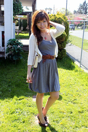 gray Heritage dress - beige Heritage cardigan - brown H&amp;M shoes - beige hello ki