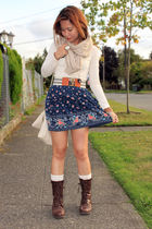 blue Forever 21 skirt - beige H&M scarf - brown Forever 21 shoes
