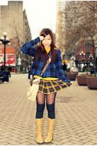 mustard Forever 21 skirt - navy Heritage 1981 jacket - camel thrifted bag