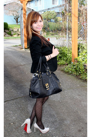 black bag - beige Ami shoes - black blazer - black Forever 21 accessories