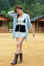 Black-forever21-blouse-brown-forever21-boots-blue-vintage-shorts-gray-fore