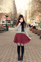 ruby red Forever 21 dress - heather gray American Eagle jacket