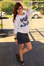 White-forever21-blouse-gray-forever21-skirt-black-bamboo-shoes-brown-urban