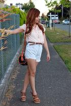 blue vintage shorts - brown dooney & burke purse - beige Forever 21 blouse