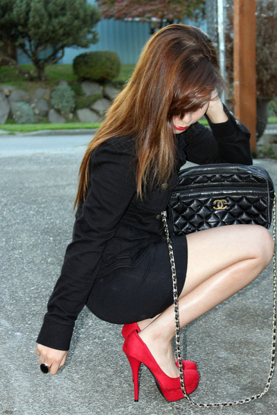 red no brand shoes - black Forever 21 jacket - black Chanel purse