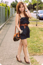 blue Love Culture dress - brown H&M shoes - brown dooney & burke purse - brown E