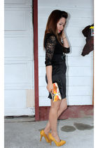 black Forever 21 blouse - yellow Soda shoes
