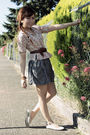 Gray-forever21-skirt-beige-dkny-blouse-beige-forever21-shoes-brown-vintage