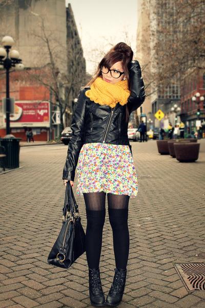 black H&M jacket - mustard Forever 21 scarf