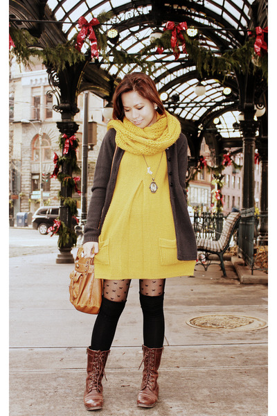 mustard Forever 21 dress - mustard Forever 21 scarf - brown Forever 21 shoes