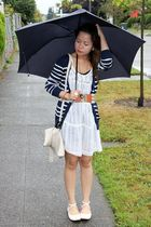 beige Ross shoes - white Forever 21 dress - blue Forever 21 cardigan