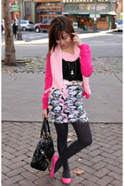 hot pink H&M cardigan - hot pink Soda shoes - bubble gum Forever 21 skirt