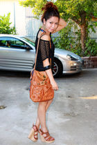 black Forever21 dress - brown Forever 21 purse - brown Paprika shoes