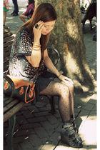 black Ebay dress - black Forever21 shoes - brown dooney & burke purse - black Fo