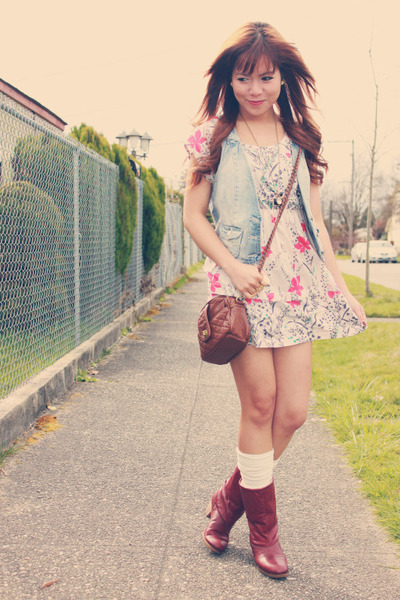 brick red thrifted boots - pink Forever 21 dress - blue H&M vest