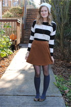 Forever21 sweater - nylon tights - Old Navy flats - suede Express vintage skirt