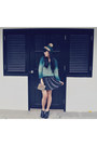 Black-boots-teal-hat-turquoise-blue-sweater-black-skirt