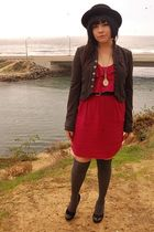 pink love tree dress - gray aryn k jacket - gray Urban Outfitters stockings - bl
