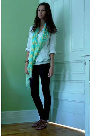 white JCrew blouse - white American Apparel top - black Forever 21 jeans - brown