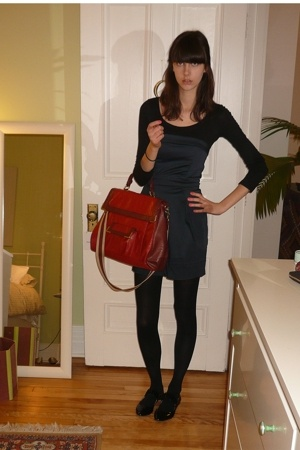black long sleeve top H&M - blue strapless dress FCUK - black patent shoes Zara