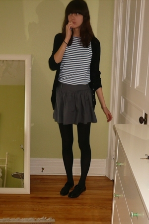 black cardigan H&M - white russian navy - gray skirt Forever21