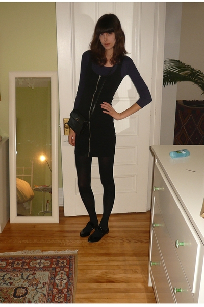 black simons tights - purple H&M - black zipper dress H&M