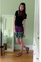 black t-shirt - purple Forever 21 skirt - brown Aldo shoes