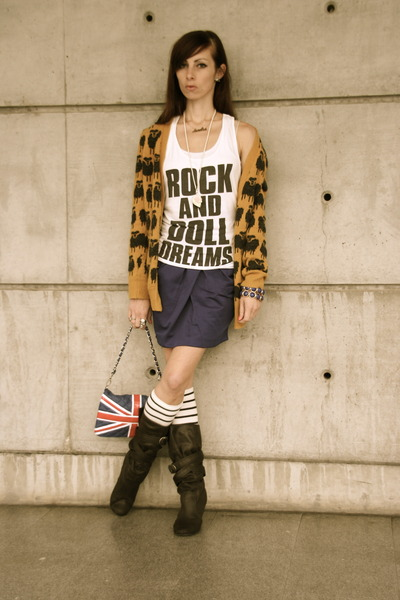 dark brown buckled new look boots - red pauls boutique bag - blue striped H&M so