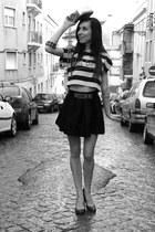 vintage Chanel bag - new look wedges - black gold Moschino belt - H&M skirt - ne